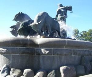 Памятник патриотке волшебнице Гефион в виде фонтана, Копенгаген, Дания, Европа